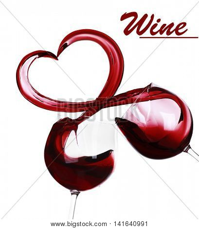 Splash of red wine in a heart shape isolated on white