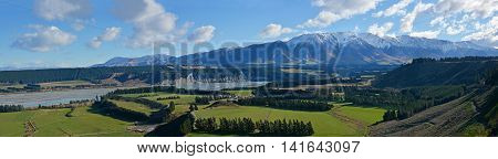 Rakaia Gorge River Valley Panorama in Mid Canterbury New Zealand