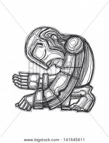 Hand drawn illustration or drawing of a poor man begging for money