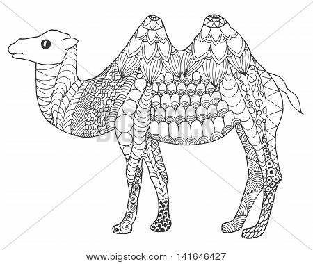 Camel. Black white hand drawn doodle animal. Ethnic patterned vector illustration. African indian totem tribal zentangle design. Sketch for coloring page tattoo poster print t-shirt