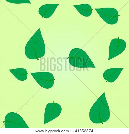 Simple geometric seamless vector illustration. Green tree leaf scattered on a light green background