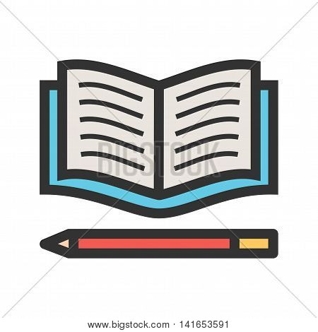 Pencil, book, education icon vector image. Can also be used for schooling. Suitable for use on web apps, mobile apps and print media.
