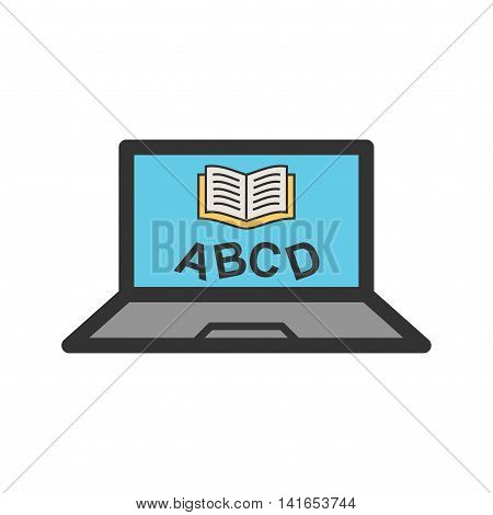 Online, learning, education icon vector image. Can also be used for schooling. Suitable for use on web apps, mobile apps and print media.