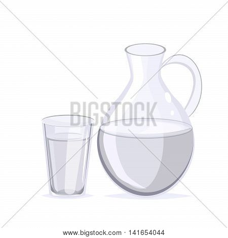 Drinking water concept glass of water. Fresh clear transparent healthy water glass. Purity cup water glass healthy cold liquid. Drink clear liquid water jug. Nature health beverage glass jug vector.