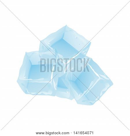Ice cubes vector set on white background. Transparent blue vector ice cube and water drops. Vector solid cool cube drink wet crystal. Blue square freeze glass freshness frost crystal.
