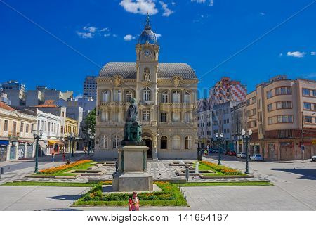 CURITIBA , BRAZIL - MAY 12, 2016: paco da liberdade is an historic building located in the city center, it was builded in 1916 and reconstructed and opened again in 2009.