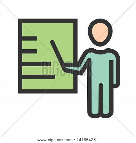 Business, male, presentation icon vector image. Can also be used for schooling. Suitable for use on web apps, mobile apps and print media.