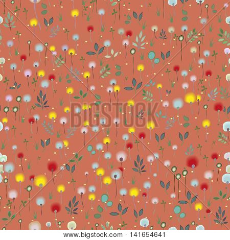 Blossoming Field. Floral Seamless Pattern. Watercolor flowers and plants with red background. illustration