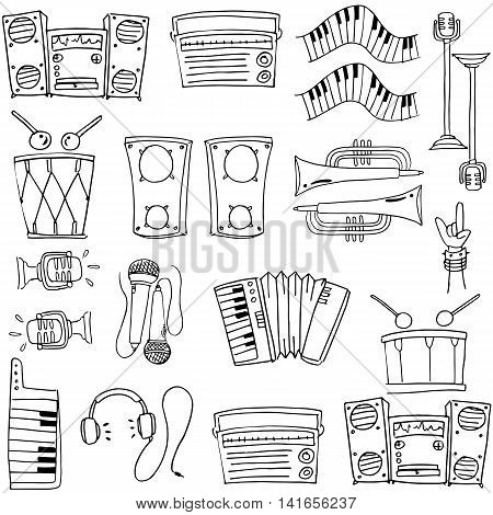 Doodle of many tools stock collection vector art