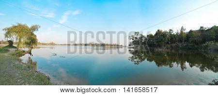Beautiful scenic landscape in Thailand, panorama background