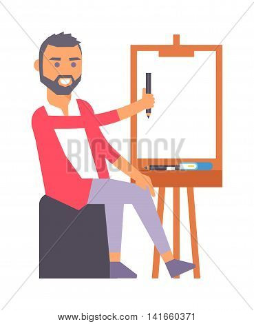 Young artist creative boy artist during pain work in studio. Portrait drawing designer artist creative people vector. Colorful adult painter artist boy designer creative people with paintbrush.
