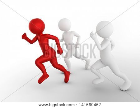 Running to be the first and win. Toon men compete, conceptual. Business success and rivals.