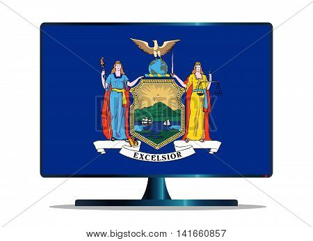 A TV or computer screen with the New York state flag