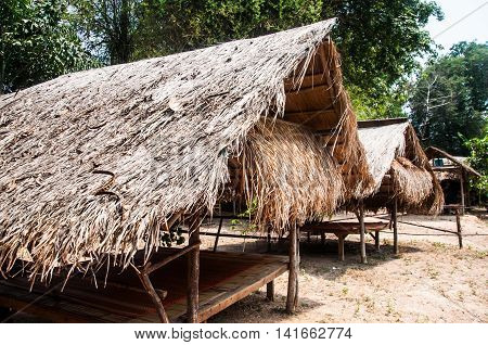 Thai style pavilion with thatched roof, Thai style home