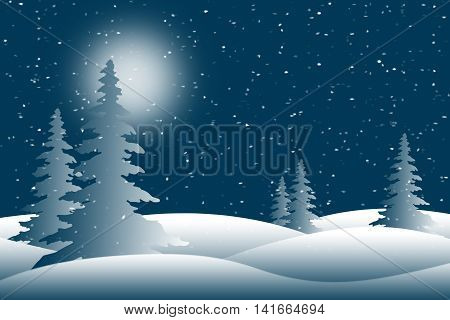 Snow falling on moonlit pine trees in a blue winter scene.