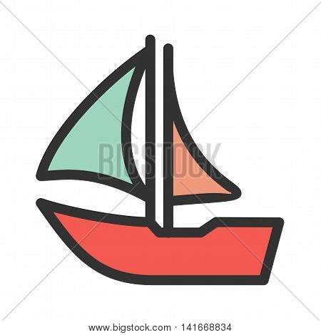 Cruise, ship, beautiful icon vector image. Can also be used for sea. Suitable for use on web apps, mobile apps and print media.