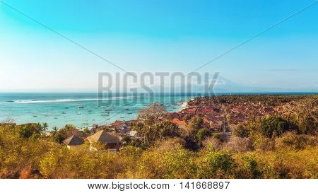 Jungutbatu Village with Mount Agung in the Background, Lembongan, Indonesia