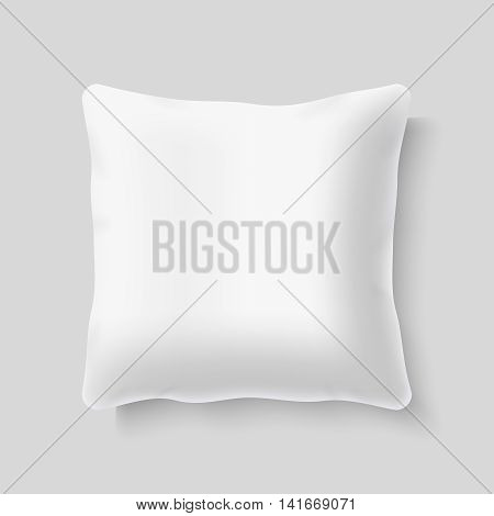 Blank white square realistic pillow cushion vector. Template of pillow for bed, illustration of mockup comfortable pillow