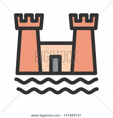 Sand, castle, beach icon vector image. Can also be used for sea. Suitable for use on web apps, mobile apps and print media.