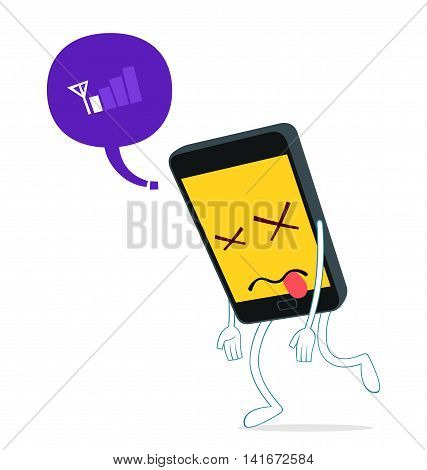humanized smartphone walking weak from loss of signal