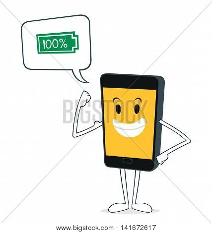 powerful smartphone stand with confidence vector illustration