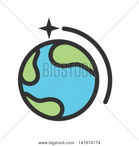 Space, earth, moon icon vector image.Can also be used for astronomy. Suitable for use on web apps, mobile apps and print media.