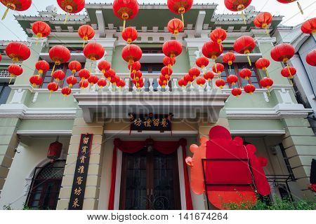 GEORGE TOWN MALAYSIA - MARCH 24: Yap Kongsi clan house decorated with chinese red lanterns Armenian Street George Town Penang Malaysia on March 24 2016.