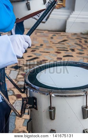 Drummer in a Marching Band. Drummers playing snare drums in parade