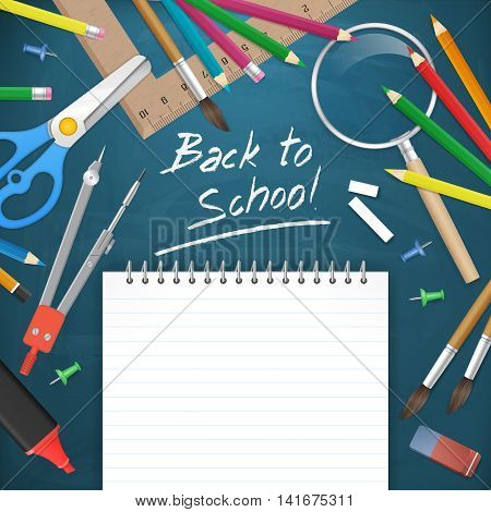 back to school education background. Blank notepad paper on chalkboard with school supplies. vector illustration. isolated object.