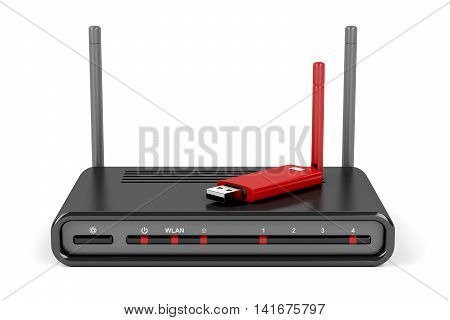 Wireless router and usb wireless network adapter on white background, 3D illustration