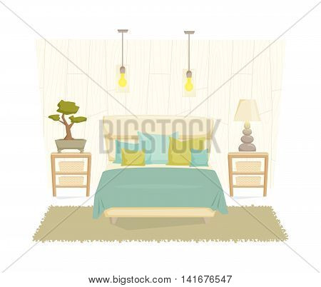 Bedroom interior with furniture and decoration in eco style. Bedroom interior cartoon vector illustration. Bedroom furniture and decor: bed, bedside table, lamp, pillow, shade. Japanese interior