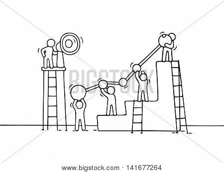 Sketch of diagramm with working little people. Doodle cute miniature teamwork. Hand drawn cartoon vector illustration for business design and infographic.