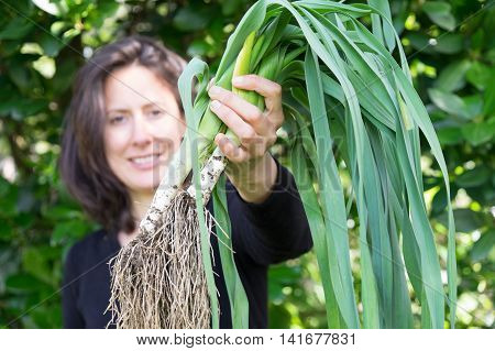 Home gardener middle-aged woman with a harvest of muddy leeks. Photographed in New Zealand NZ.