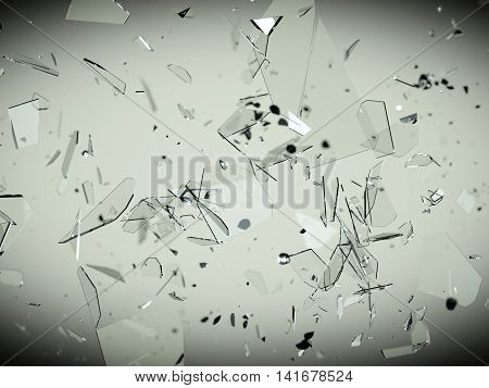 Pieces Of Splitted Or Cracked Glass