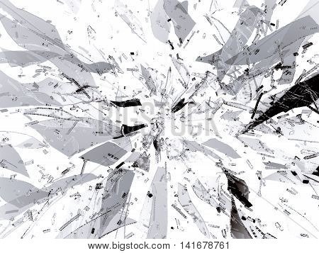 Splitted Or Broken Glass Pieces On White
