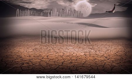 Gleaming silver city in desert 3D Render  Elements of this image furnished by NASA