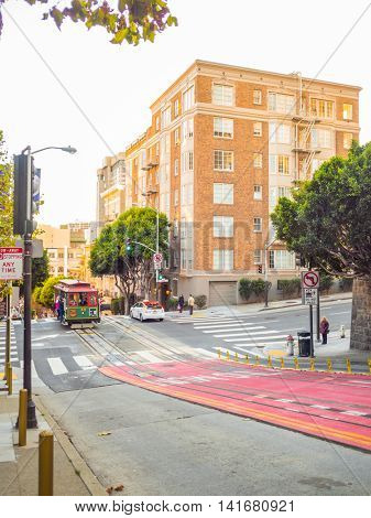 San Francisco, California, USA - November 10, 2015: The San Francisco cable car system, an icon of San Francisco, is the world's last manually operated cable car system