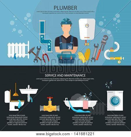 Professional plumber banner plumbing repair service different tools and accessories vector illustration