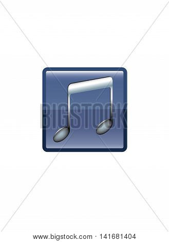 Gradient black musical note's button on white background