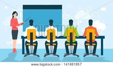 Businesswoman People Group Conference Meeting University Professor Lecture With Students Flat Vector Illustration