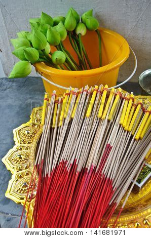 lotus and joss stick for pray in Buddha temple