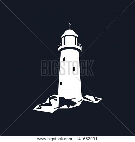 Lighthouse, Beacon Isolated on Black Background, Lighthouse Stands on Rocks, Vector Illustration