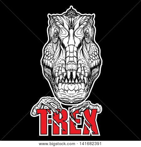 Detailed sketch style drawing of the tirannosaurus rex head. Beast holding T-Rex sign in its claws. Black outlines on Black background. EPS10 vector illustration.