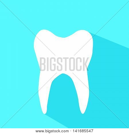 Vector illustration of white tooth on blue background