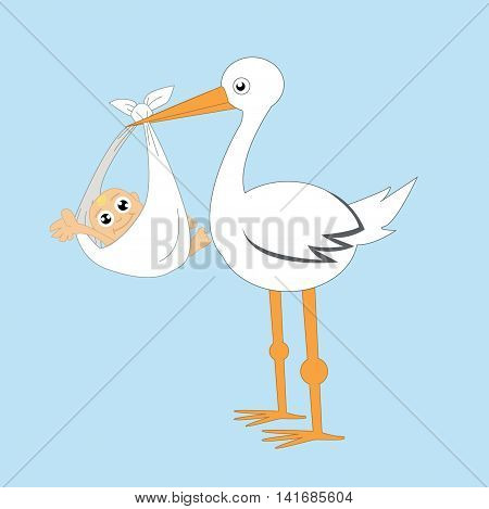 Stork and baby cartoon illustration art on blue