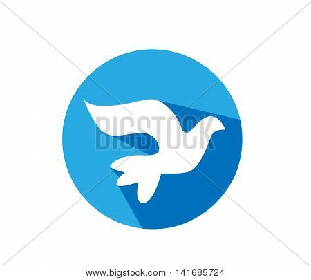 White Dove illustration on white background with blue circle