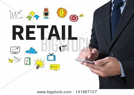 RETAIL businessman working use smartphone man business  businessman vision work
