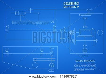 blueprint scheme technical drawing plan or project on the blue background. stock vector illustration eps10