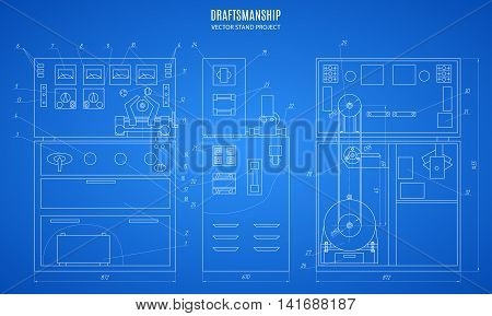 blueprint stand technical drawing construction plan or project on the blue background. stock vector illustration eps10