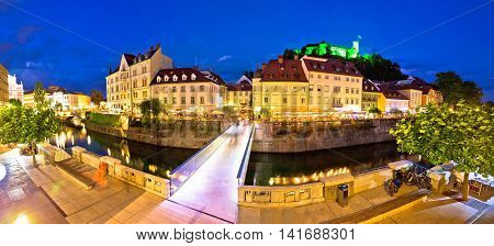 Evening panorama of Ljubljana river architecture and castle capital of Slovenia